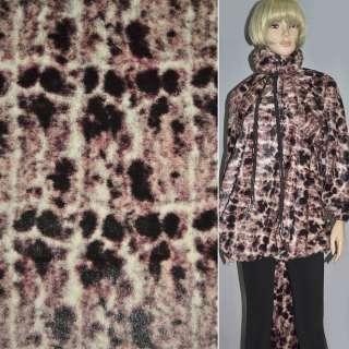 Мех искусственный светло-бежевый с коричнево-розовыми пятнами, ш.150 оптом
