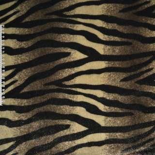 Мех искусственный в коричнево-бежевые полосы с черной абстракцией ш.160 оптом