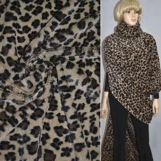 """мех темно-бежевый с черным """"леопард""""  ш.170 оптом"""