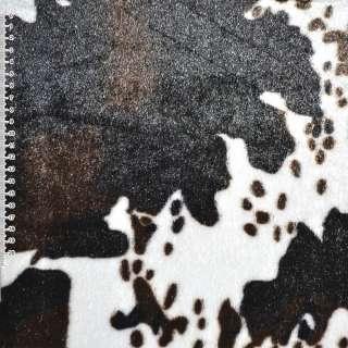 """Хутро штучне середньоворсове біле з темно-коричневим """"корова"""" ш.170 оптом"""