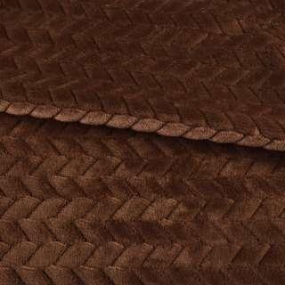 Мех искусственный косичка с просветами коричневый ш.165 оптом