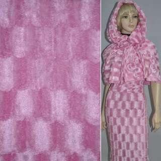 Мех искусственный коротковорсовый розовый оптом