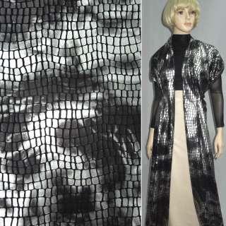 Мех искусственный низковорсовый черный с серебристыми прямоугольниками (штамп) ш.160 оптом