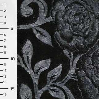 Хутро штучне чорне зі штампованими синіми трояндами ш.150 оптом