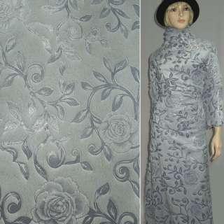 Хутро штучне сіро-блакитне з штампованими трояндами ш.150 оптом