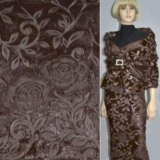 Хутро штучне коричневе зі штампованими трояндами ш.150 оптом
