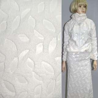 Мех искусственный кремовый со штампованными листьями ш.150 оптом