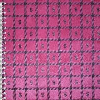 """Мех искусственный коротковорсовый розово-малиновый в квадраты """"$"""" ш.160 оптом"""