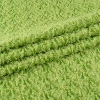 """Мех искусственный светло-зеленый """"завитки"""" блестящий, ш.150 оптом"""