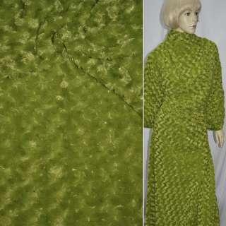 Мех искусственный зеленый с розочками ш.150 оптом