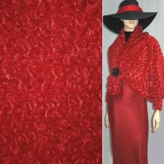 Хутро штучне червоне з трояндочками ш.150 оптом