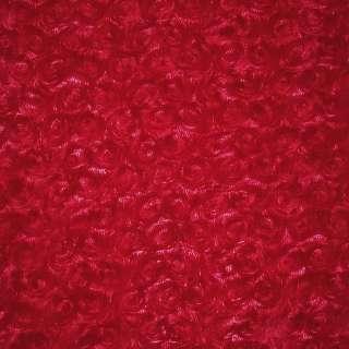 мех красный с розочками искусственный ш.205 оптом
