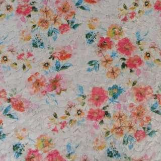 Хутро штучне стрижене сіре в квіти, ш.146 оптом