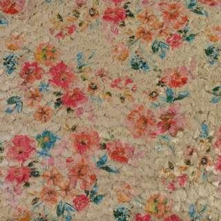 Мех стриженый бежевый в цветы, ш.145 оптом