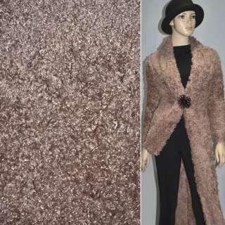 """Мех искусственный коричневый с розовым оттенком под """"барашка"""" ш.160 оптом"""