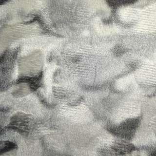Мех искусственный коротковорсовый светло-серый с белым рисунком оптом