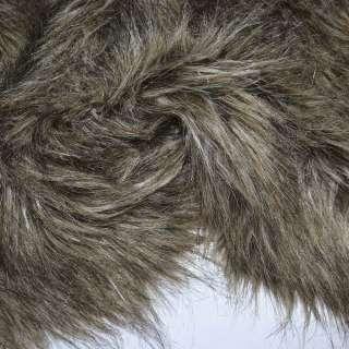 Мех искусственный длинноворсовый бежево-коричневый с черным ш.155 оптом