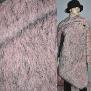 Мех искусственный ярко-розовый с длинными черными ворсинками оптом