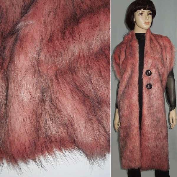 мех розовый с черн. ворсом ш.150 оптом