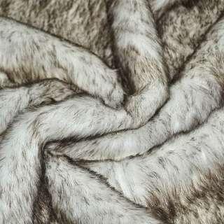 Мех искусственный средневорсовый белый с коричневым ворсом ш.170 оптом