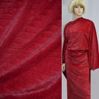 Хутро штучне червоне коротковорсове з смужкою ш.170 оптом