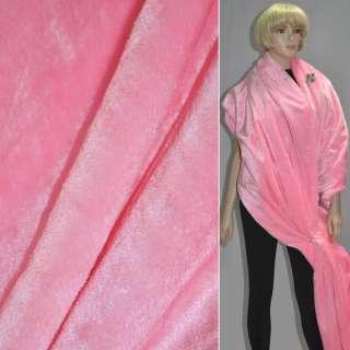 Мех искусственный коротковорсовый розовый ш.160 оптом