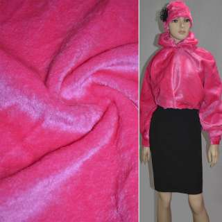Мех искусственный коротковорсовый ярко-розовый ш.160 оптом