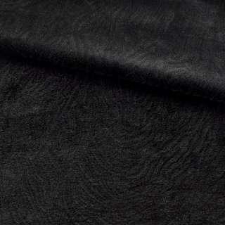 Мех искусственный мутон с тиснением черный, ш.160 оптом