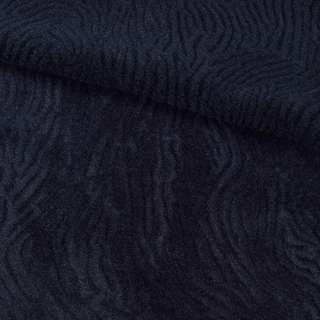 Мех искусственный мутон с тиснением синий темный, ш.150 оптом