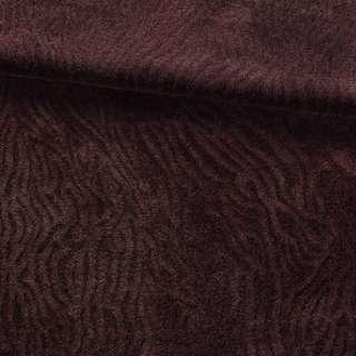 Мех искусственный мутон с тиснением коричневый темный, ш.160 оптом