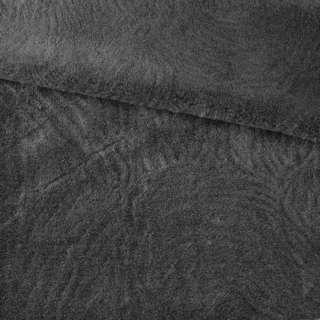 Мех искусственный мутон с тиснением серый темный, ш.160 оптом