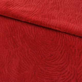 Мех искусственный мутон с тиснением красный, ш.160 оптом