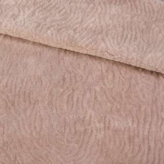 Мех искусственный мутон с тиснением розово-бежевый, ш.160 оптом