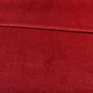 Мех искусственный мутон с тиснением красный светлый, ш.160 оптом