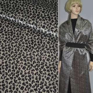 Хутро штучне коротковорсове пісочне з чорним леопардом ш.150 оптом