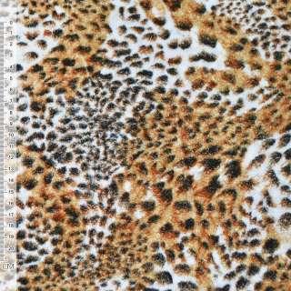 Велюр рыжий принт леопард ш.150 оптом