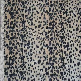 Велюр светло-коричневый черный принт леопард ш.150 оптом