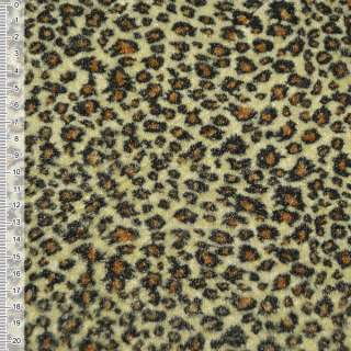 Велюр светло-желтый принт леопард ш.150 оптом