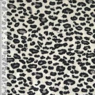 Велюр молочно-серый черный принт леопард ш.150 оптом