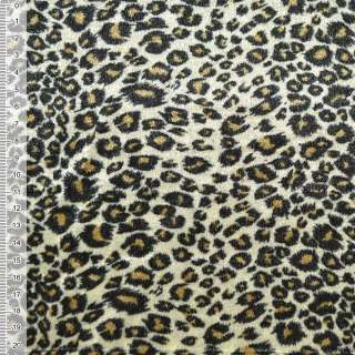 Велюр молочно-оливковый принт леопард ш.150 оптом