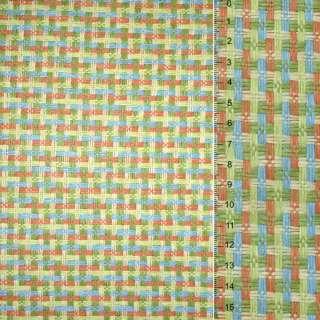Рогожка из целюлозы на флизе с цв. перепл: зелено- оранжево-голубая, ш.150 оптом