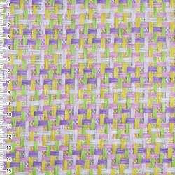 Рогожка из целлюлозы на флизелине с цветным переплетением: розово- фиолетово-салатовая, ш.150 оптом