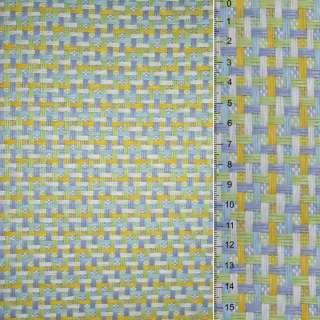 Рогожка из целюлозы на флиз с цв. переплет: салат-желто- бело-серая, ш.150 оптом