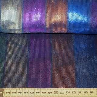 Органза темно-синя в червоно-зелено-фіолетово-сині смуги, ш.140 оптом
