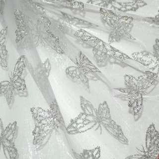 Органза молочна з срібними метеликами ш.150 оптом