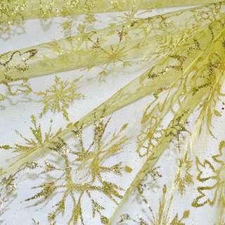 """органза золотисто-желтая с блестками """"снежинка"""" ш.160 оптом"""