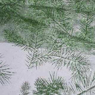 Органза біла з зеленими блискітками гілочки ш.150 оптом