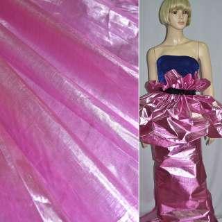 Парча ярко-розовая с серебристым отливом, гладкая ш.150 оптом