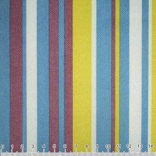 ПВХ ткань оксфорд 600 D в полоску желто-синюю+ терракот.-белую  ш.150 оптом