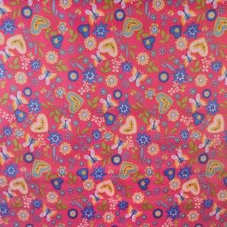 ПВХ ткань оксфорд 600 D розовый в разноцветные бабочки,цветы,сердца ш.150 оптом